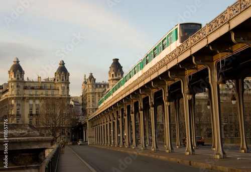 Parisian metro train on the Bir-Hakeim bridge #11055776
