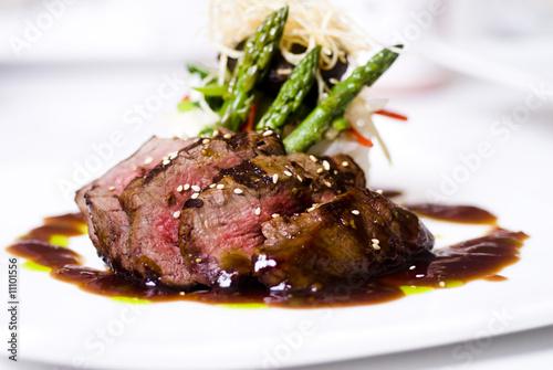 Stampa su Tela gourmet fillet mignon steak at five star restaurant.