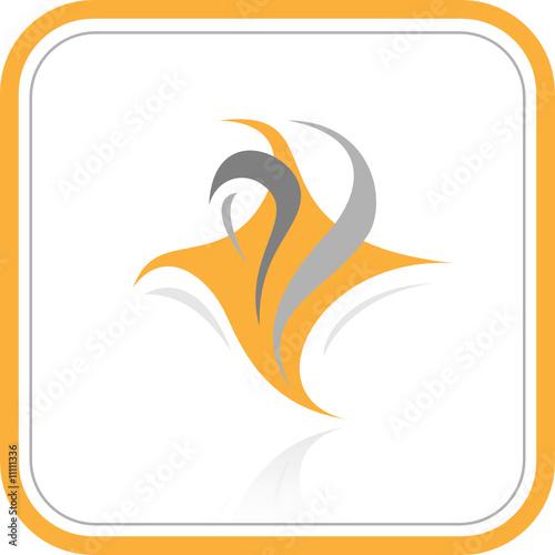 Vector abstract internet icon. Orange set.