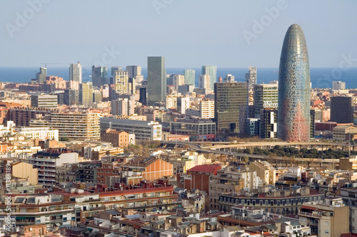 Bird view of the Agbar Tower in Barcelona (Spain) #11384189
