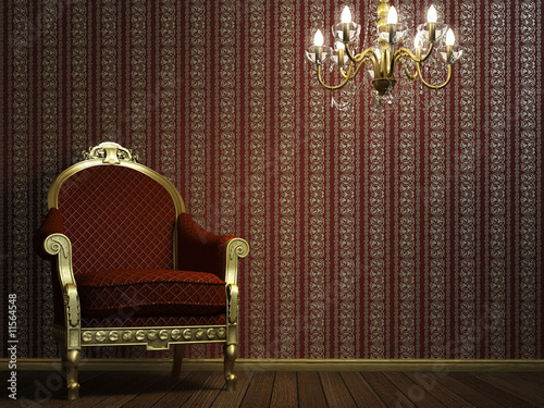 classic armchair with lamp and golden details #11564548