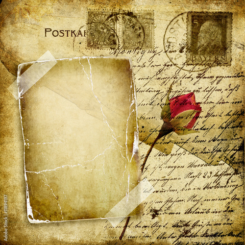 vintage love letter with dry rose #11894197