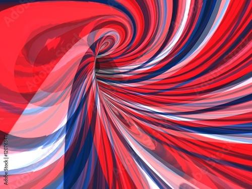 abstrakcyjny psychodeliczny obraz wirujących czerwonych białych i niebieskich linii