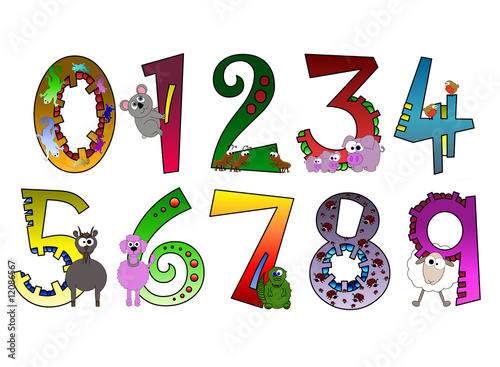 Animal Themed Numbers Poster (Part Of Set) #12086567