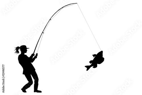 Fotografia, Obraz silhouette of fisher woman with perch