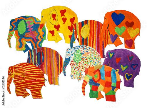 Gemalte Elefanten #12495394