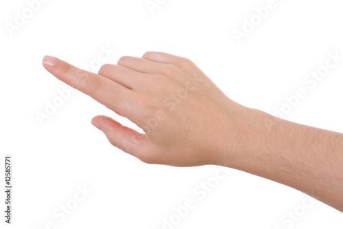 Slika na platnu Hand pointing isolated on white. Caucasian female.