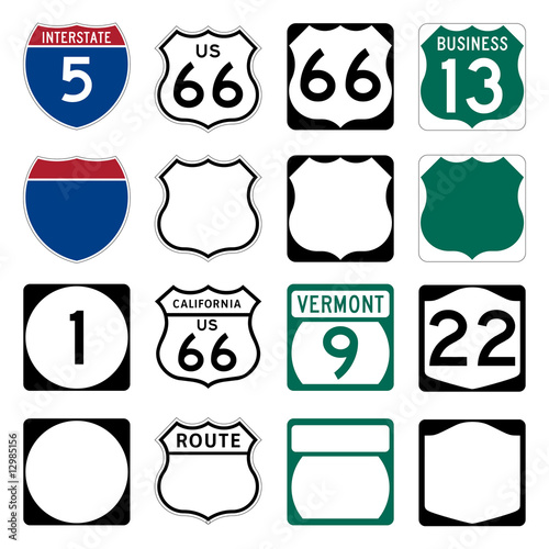 Photo Interstate and US Route signs including famous Route 66