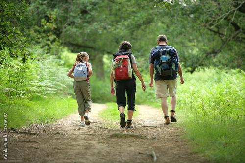 Valokuvatapetti famille en randonnée de dos