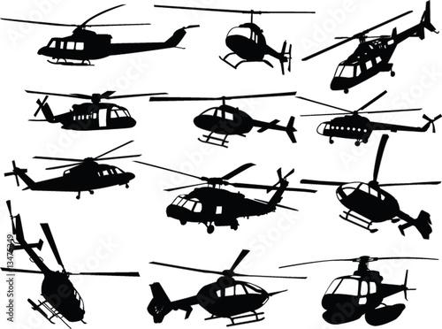 Obraz na plátně big collection of helicopters - vector
