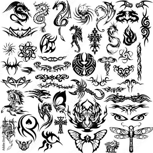 Fototapeta Tribal tattoo collage (vector)