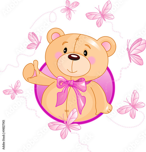 Very cute Teddy Bear waiving hello #14827143