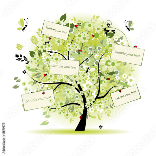 Wish tree floral with cards for your text #15879977