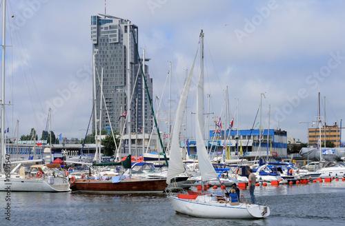 Sailboat entering the marina in Gdynia, Poland #15891547