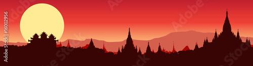 фотография Illustrative panoramic view of Bagan in Myanmar