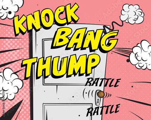 Comic book - door knocking Fototapete