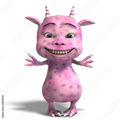 little pink cute toon dragon devil Poster Mural XXL