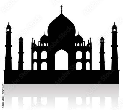 Obraz na plátně taj mahal india vector silhouette