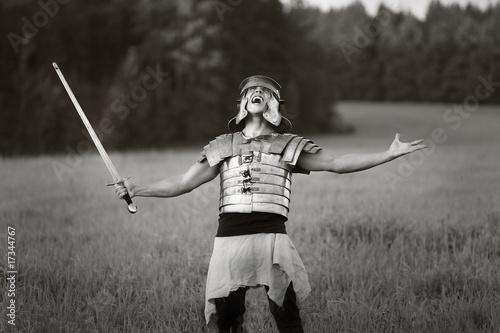 Obraz na płótnie Agressive Roman soldiers. Photo.