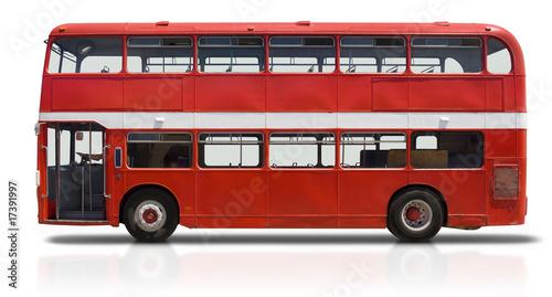 Fotografiet Red Double Decker Bus on White