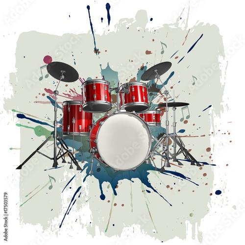 Drum kit on grunge background Fotobehang
