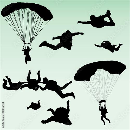 Canvas Print parachutists silhouette collection - vector