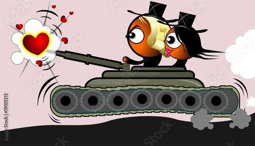 Fotografiet Illustration of a girl and boy in battle tank