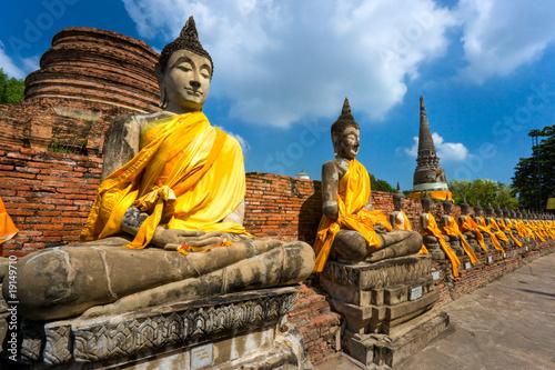 Carta da parati Ruined Old Temple of Ayutthaya, Thailand,