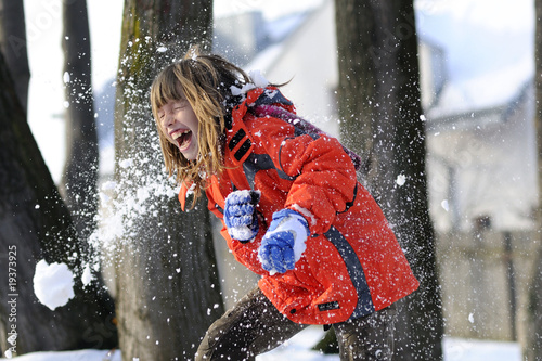Photo childhood, fighting with snowballs