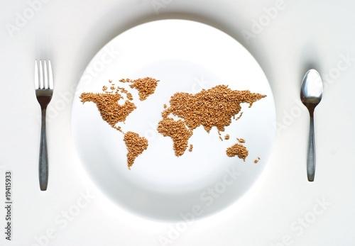 Wallpaper Mural World Map of Grain on Plate