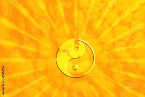 Canvas Print Yin Yan am sonnigen Himmel mit Lichtstrahlen
