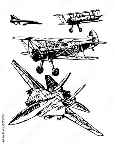 Billede på lærred warplanes of different eras