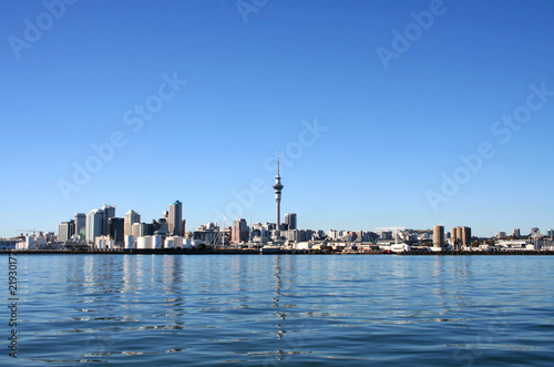 Auckland City, New Zealand on a clear sunny morning