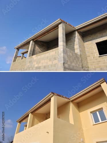 Tablou Canvas Détail d'une façade de maison, avant, après.