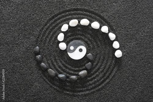 Canvas Print zen garten mit yin und yang