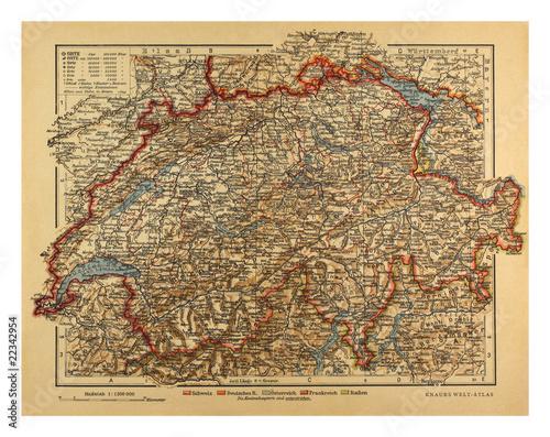 Wallpaper Mural Vintage Switzerland Map from 1900