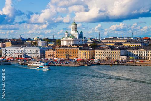 Canvas Print Summer panorama of Helsinki, Finland