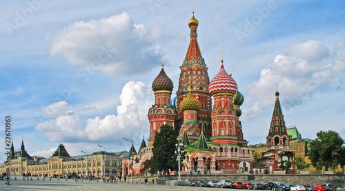 Moskau - Basilius-Kathedrale am Roten Platz mit Kaufhaus GUM