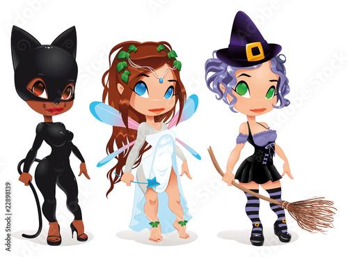 Pussy, Fairy and Witch. Postaci z kreskówek i wektorowe.
