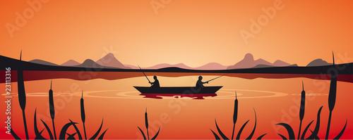 Obraz na plátně Fishing in the lake