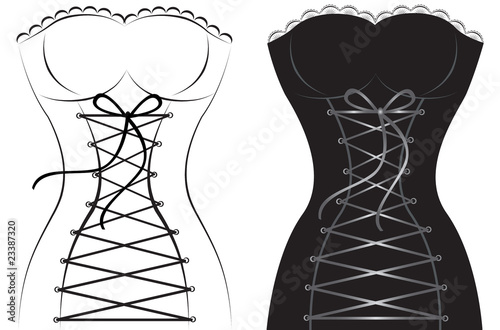 Obraz na płótnie Collection of artistic sexy female corsets isolated on white