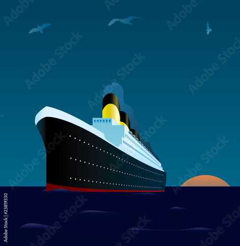 Obraz na plátně cruise liner at sunset