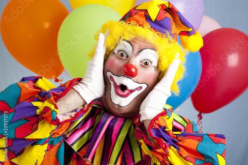 Vászonkép Surprised Birthday Clown