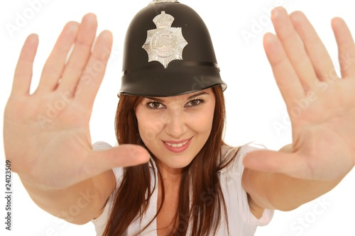 Fotografia Pretty Policewoman with Angry Look