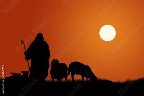 Silhouette Of Shepherd And Sheep Fototapeta