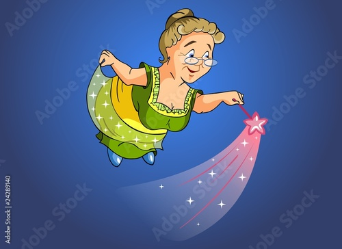 Granny fairy with a magic wand.
