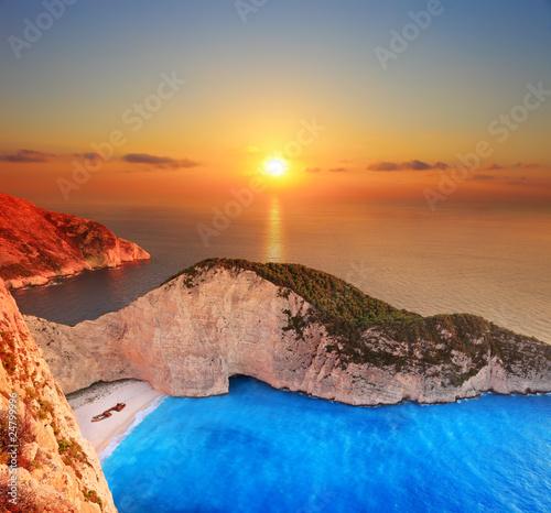 A panorama over Zakynthos island with a shipwreck on the beach фототапет
