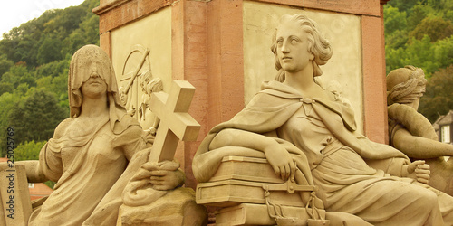 Wallpaper Mural Goddies of the Statue of Minerva on the Old Bridge in Heidelberg