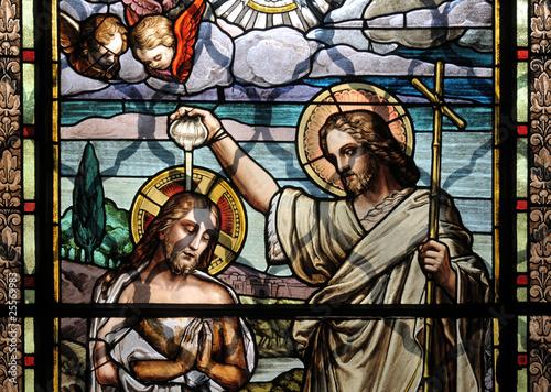 Leinwand Poster Jesus Christ baptism by Saint John the Baptist