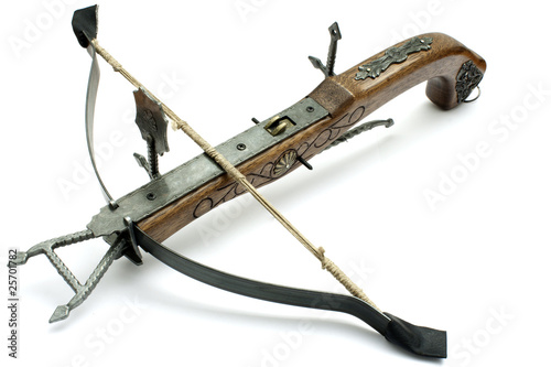 Stampa su Tela old wood crossbow isolated in white background